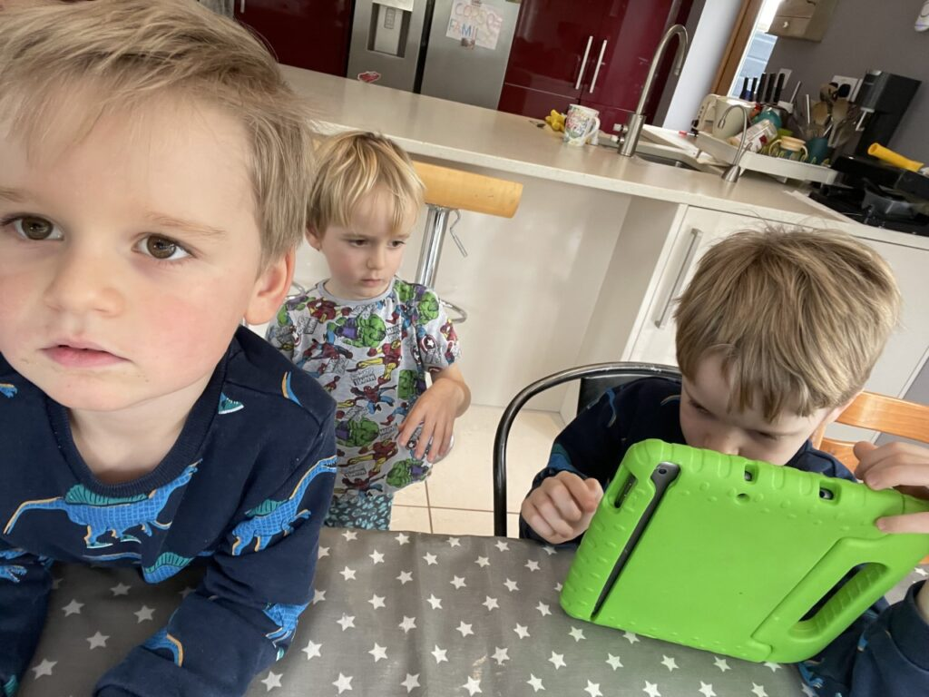 Three year old twin boys interrupting their homeschooling five year old brother trying to do maths on an iPad