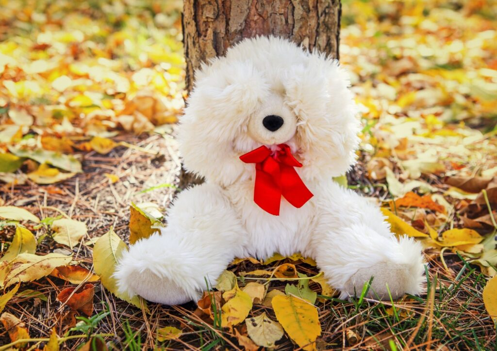 A white teddy bear with his paws over his eyes leaning against a tree in a scavenger hunt which is a perfect activity for World Book Day