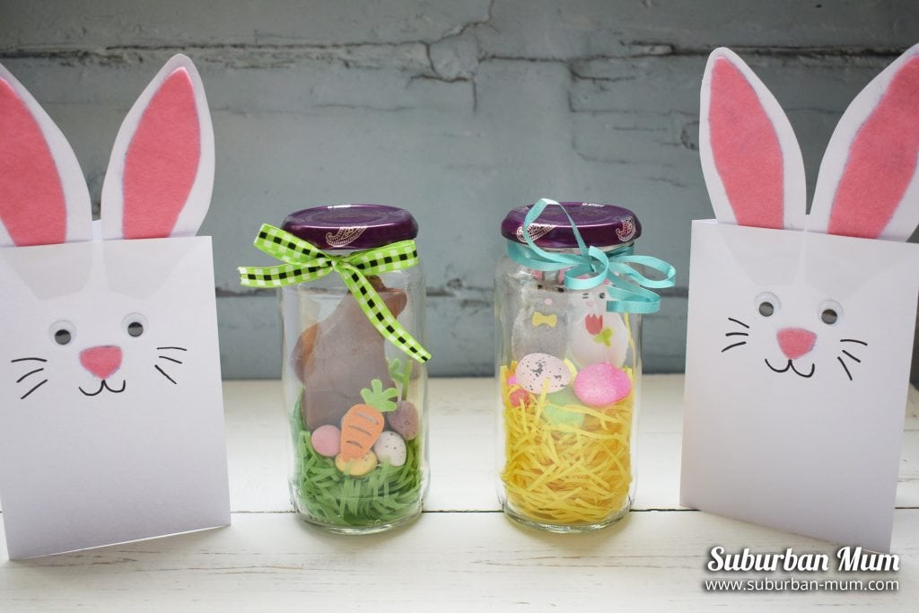 Easter jars and bunny cards as good examples for easter craft ideas for kids