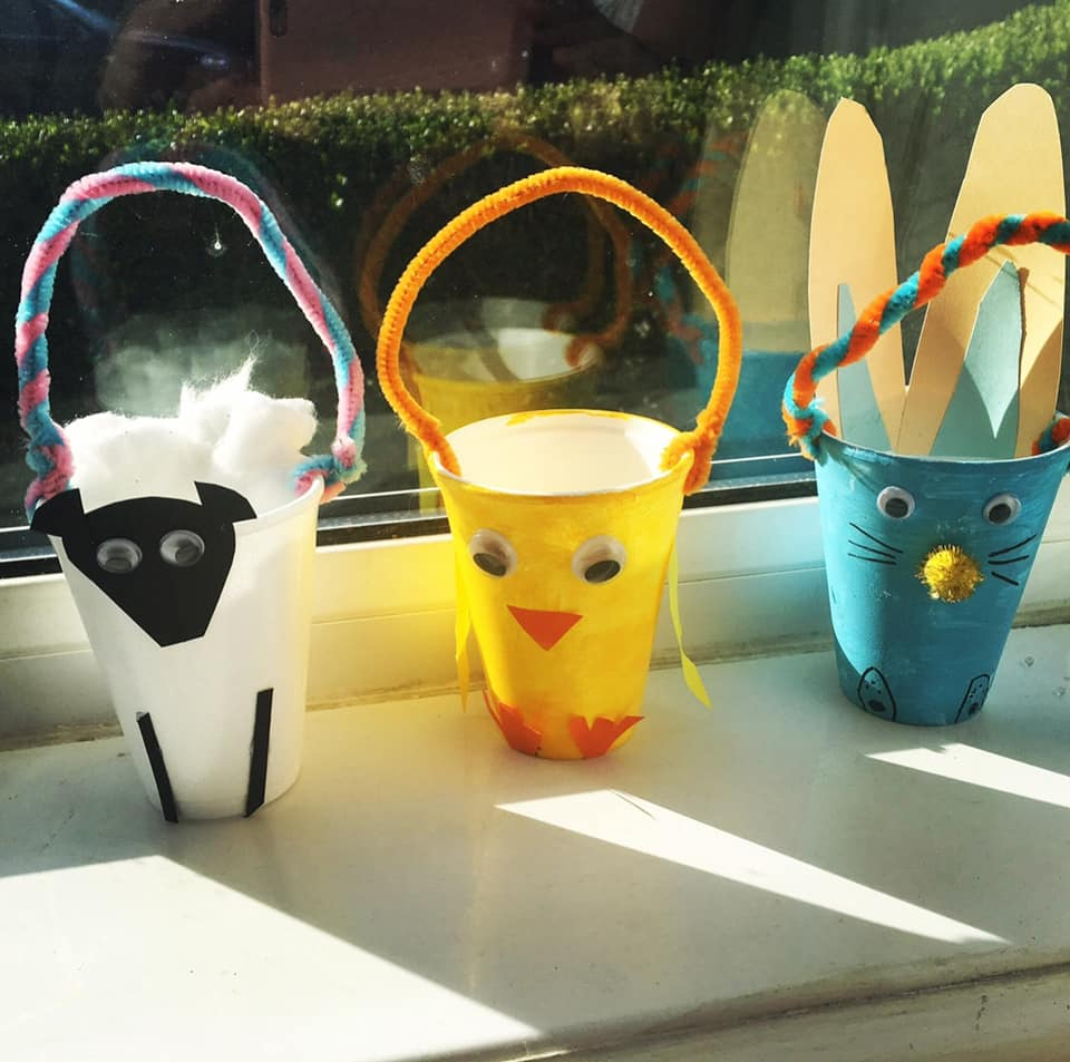 Easter baskets made out of cups and pipecleaners