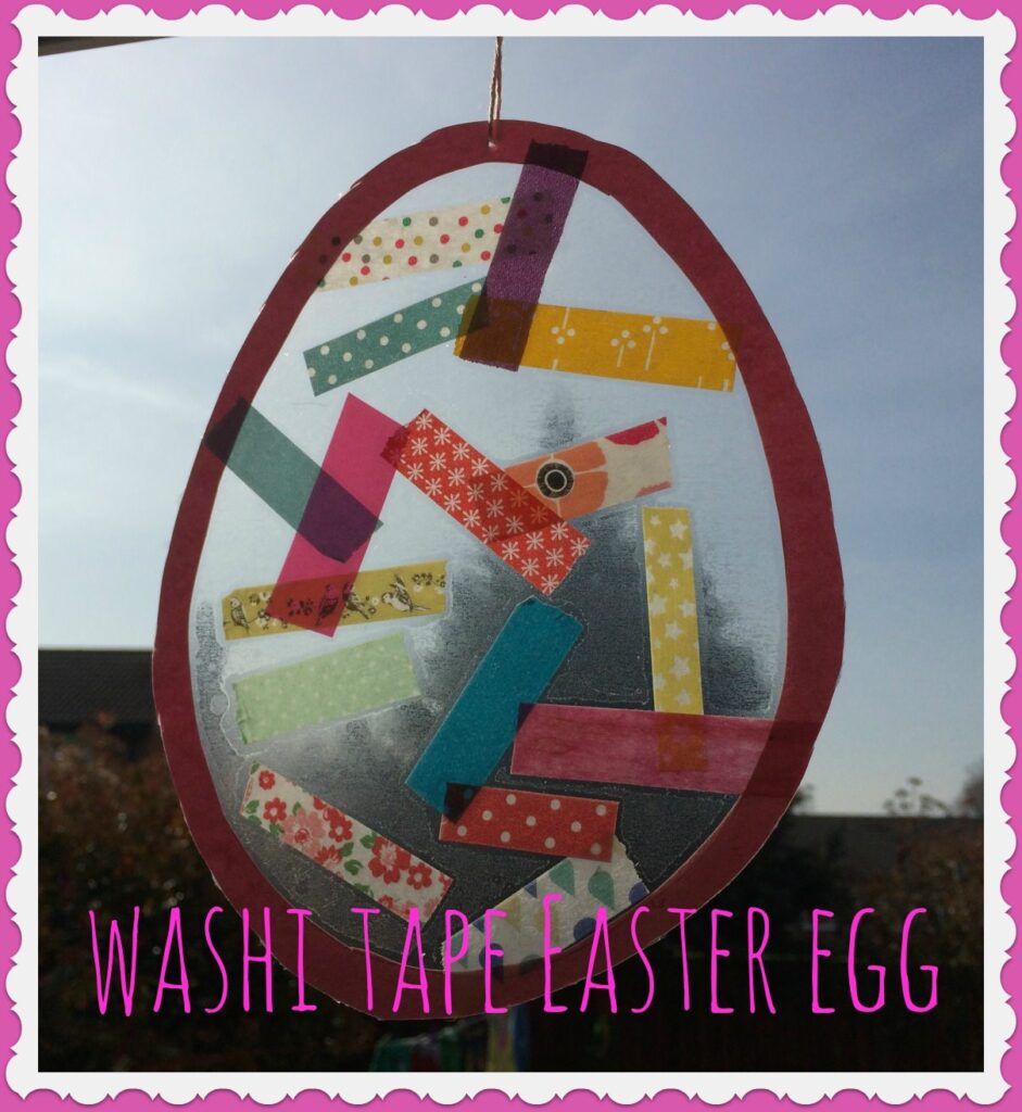 A washi tape easter egg as a great easter craft idea for kids