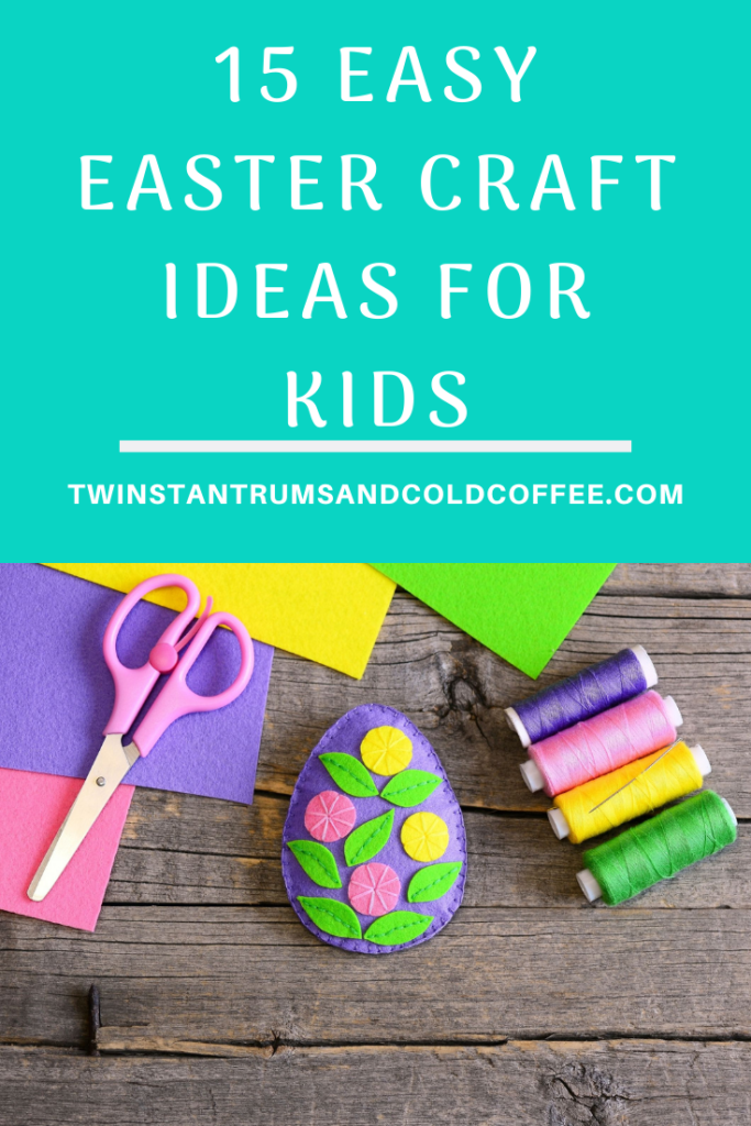 PIN image of some craft materials and an easter egg for a blogpost on easy Easter craft ideas for kids