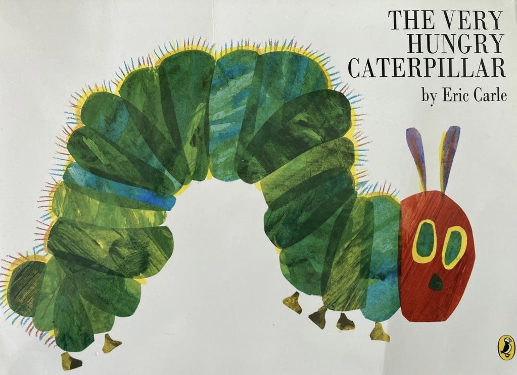 The front of cover of The Very Hungry Caterpillar children's book