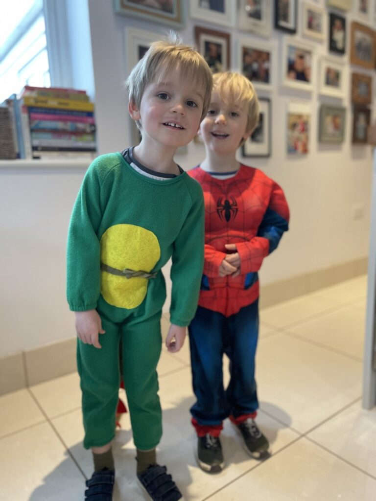 Twin three year old boys dress up as a dinosaur and spiderman for World Book Day