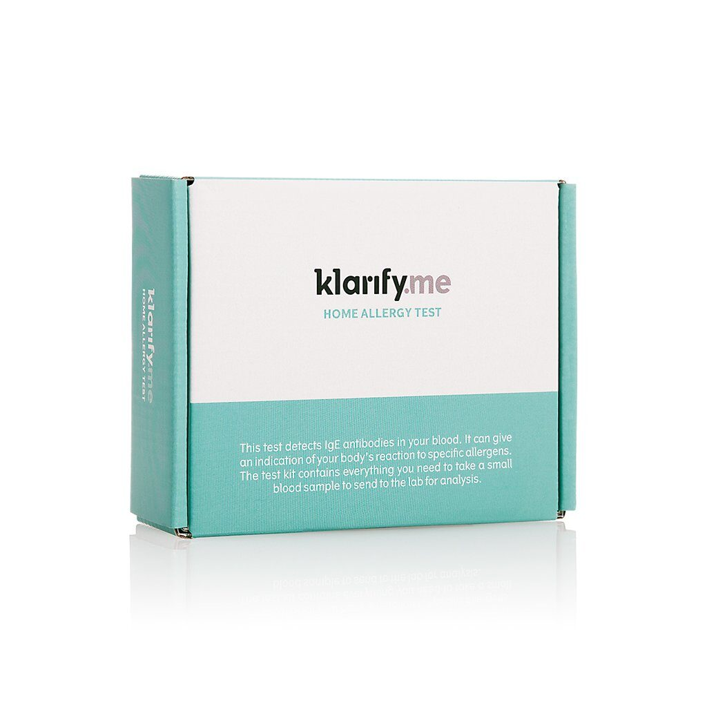 Klarify home allergy test in a light green and white box