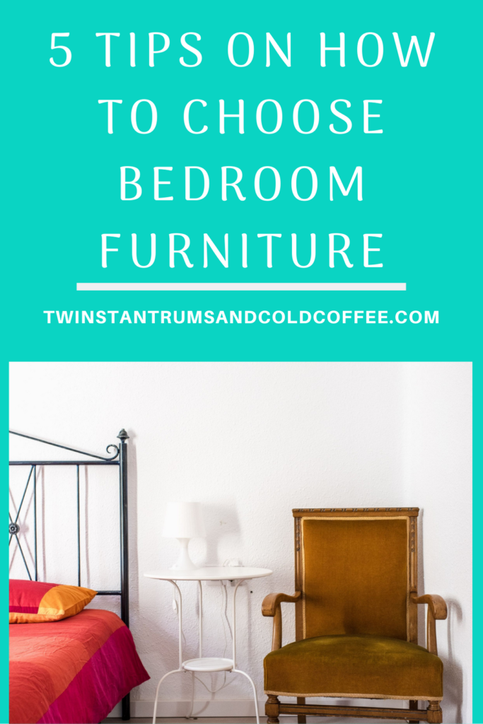 Pin image of a bed, bedside table and chair for tips on how to choose bedroom furniture