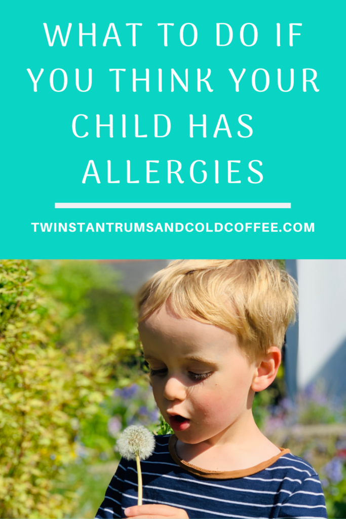 PIN for what to do if you think your child has allergies and a little boy blowing dandelion seeds