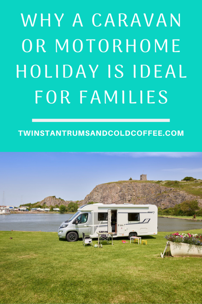 PIN image of a caravan next to a lake and why a caravan holiday is great for a family