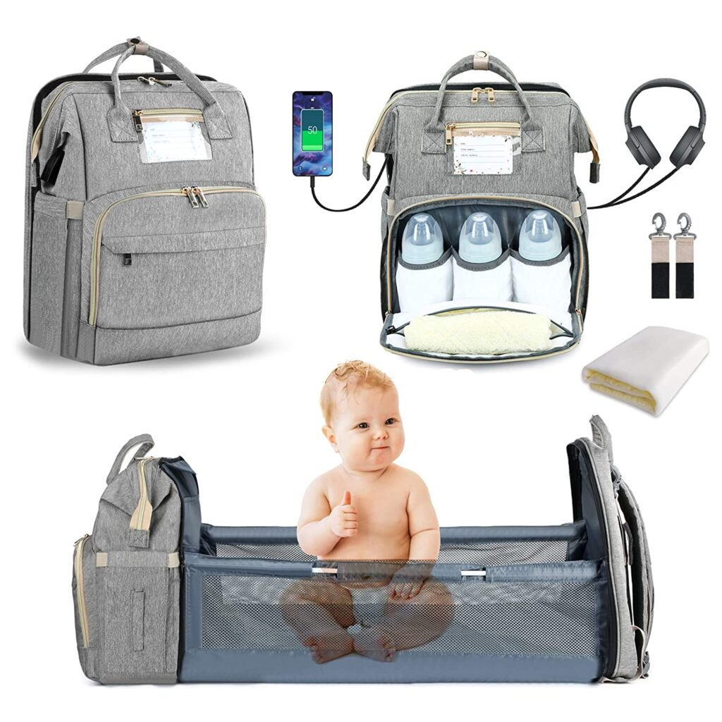 Nappy bag that extends into a small bassinet