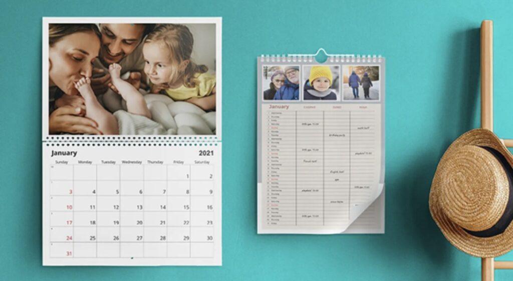 Bonusprint photo calendars on a blue wall