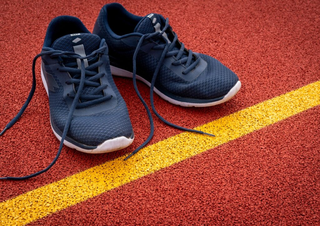 Pair of black running shoes
