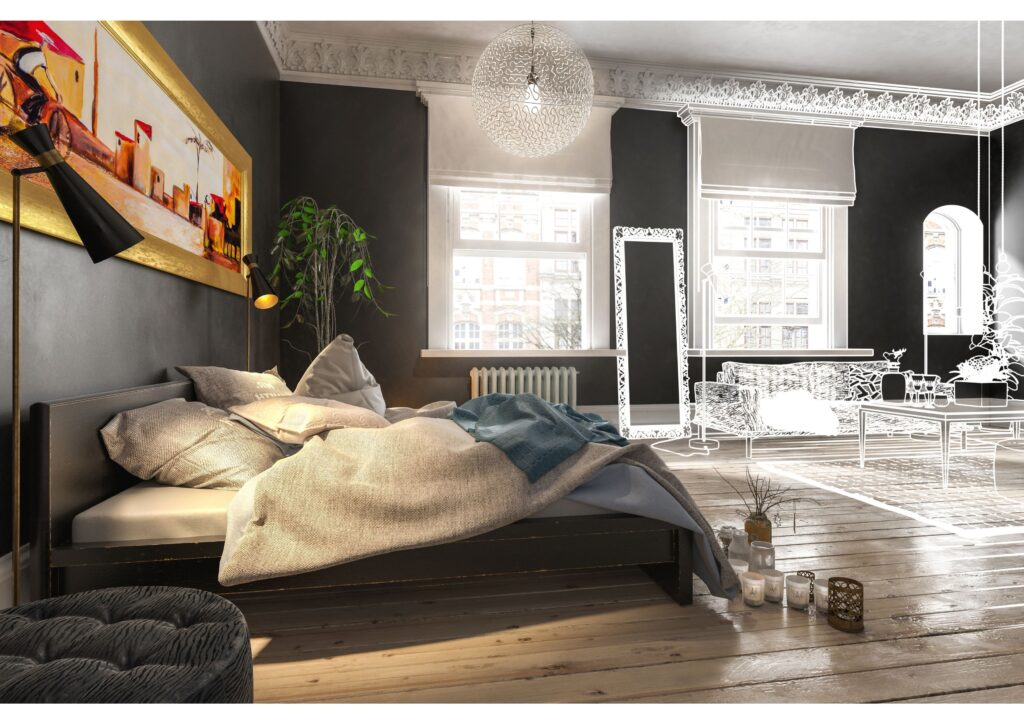 A luxury bedroom with huge bed, sumptious decor and furniture