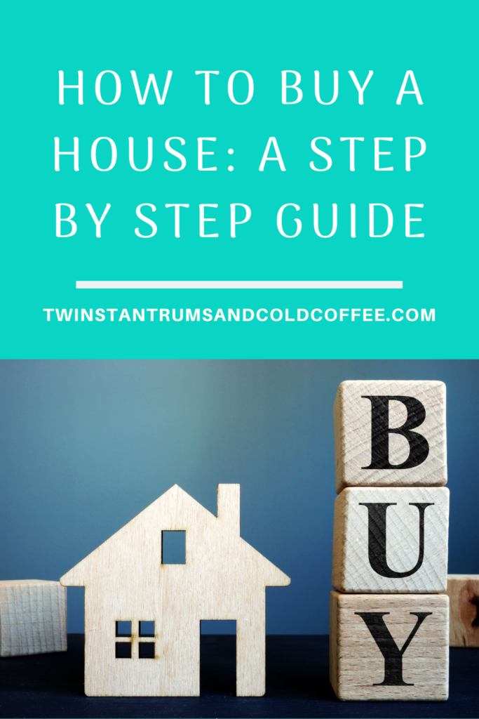 A house with a 'buy' sign next to it for a step by step guide to buying a house