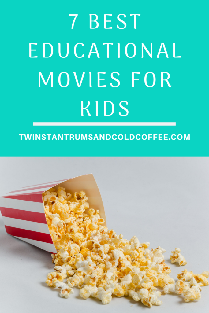 Spilt red and white bucket of popcorn for the 7 best educational kids movies