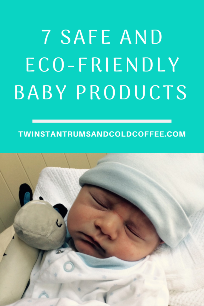 PIN for safe and eco friendly baby products with a newborn asleep
