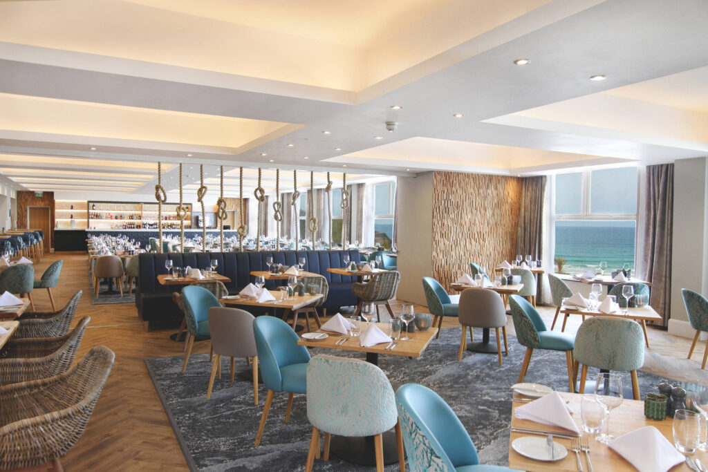 The Cove restaurant overlooking Fistral beach at the Esplanade hotel in Cornwall