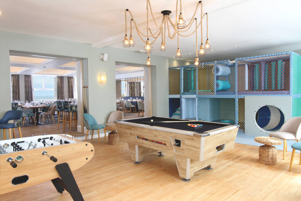 A games room, soft play and pool table at the family friendly hotel in Cornwall called the Esplanade