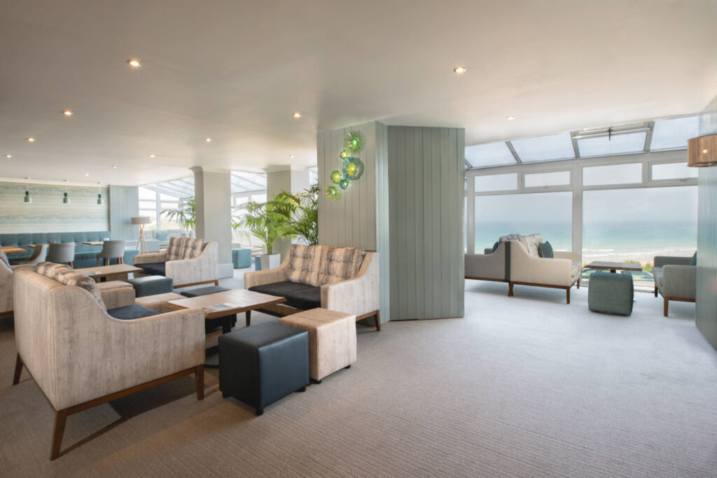 The lounge area overlooking Fistral beach of the Esplanade hotel in Cornwall