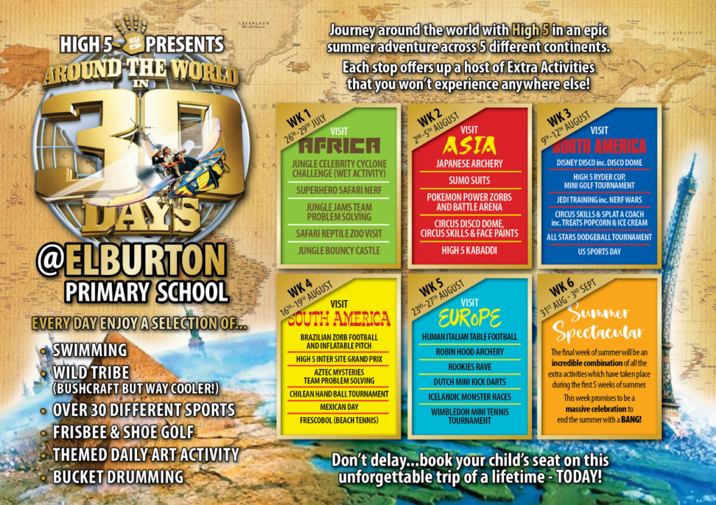 A graphic showing a schedule for the High 5 summer camp in Plymouth