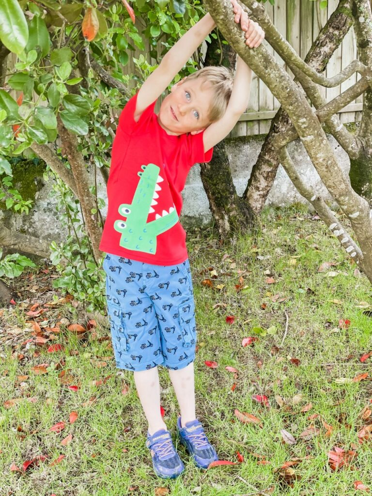 A five year old boy wearing a red crocodile t shirt hangs off a branch of a tree in the garden