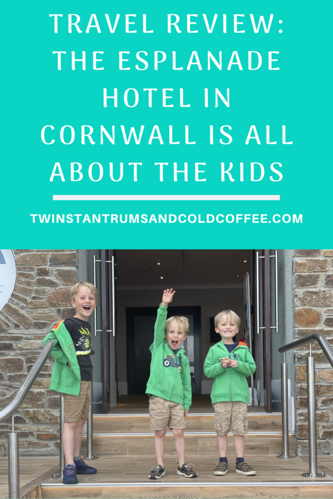 Three boys on the steps of the Esplanade hotel in newquay for travel review pin