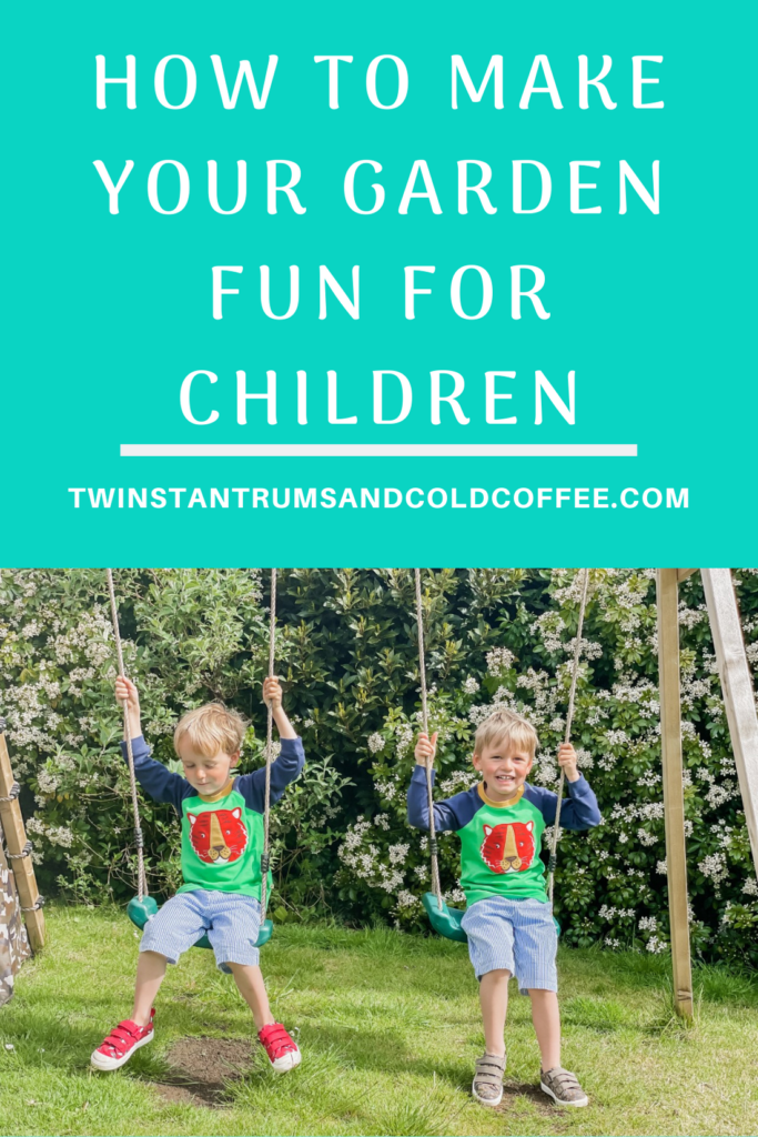 PIN image of twins swinging on wooden swings in the garden for how to make your garden fun for children