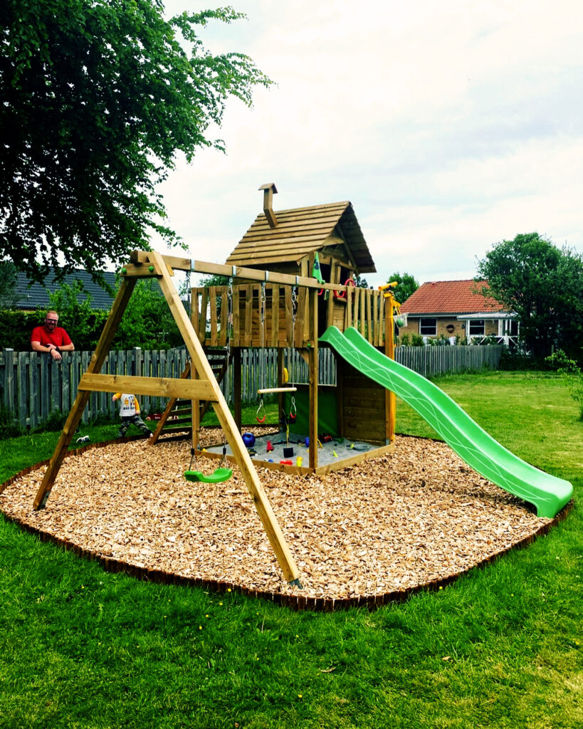 Wickey fun factory outdoor climbing frame, swings and slide set