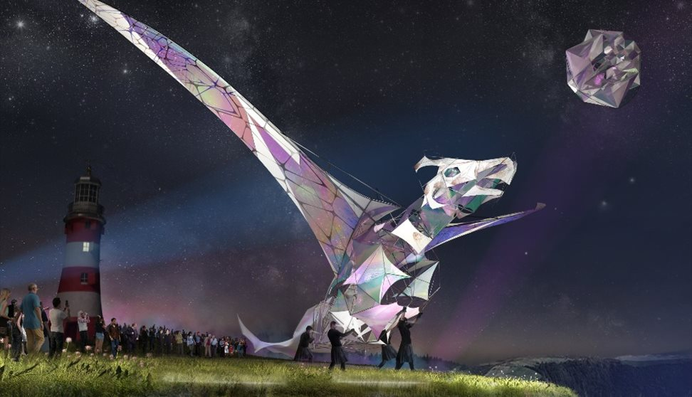 A giant puppet of a pterosaur called the Hatchling will fly over the cliff as one of the many things to do in Plymouth this summer