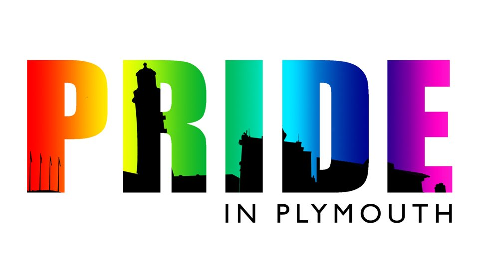 Rainbow coloured PRIDE word with silhouette of Plymouth's Smeaton Tower