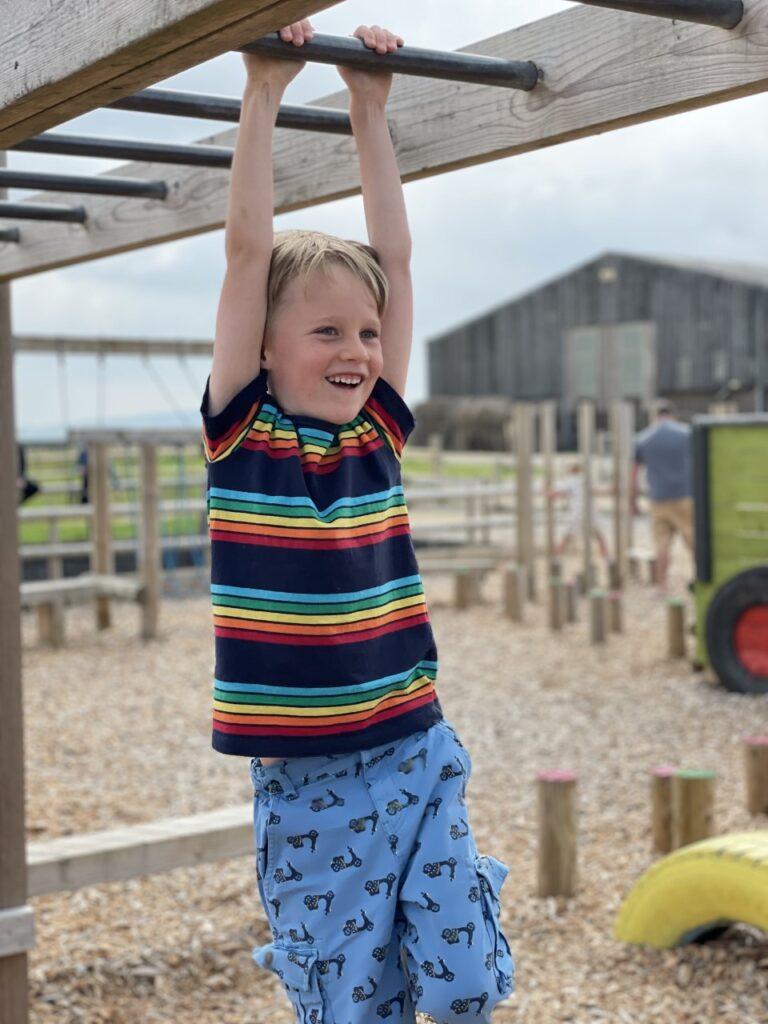 Six year old boy wearing a rainbow stripy t shirt on the monkey bars at Tapnell Farm Park