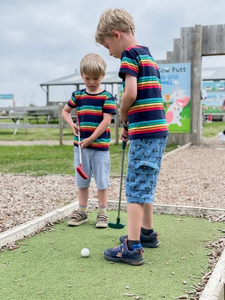 Brothers attempt to play mini golf