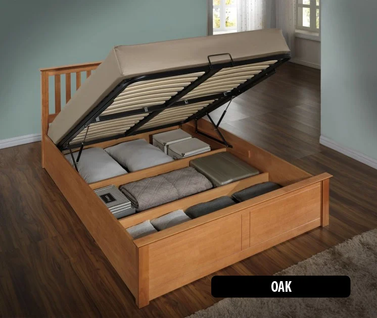 An ottoman bed with storage underneath it.