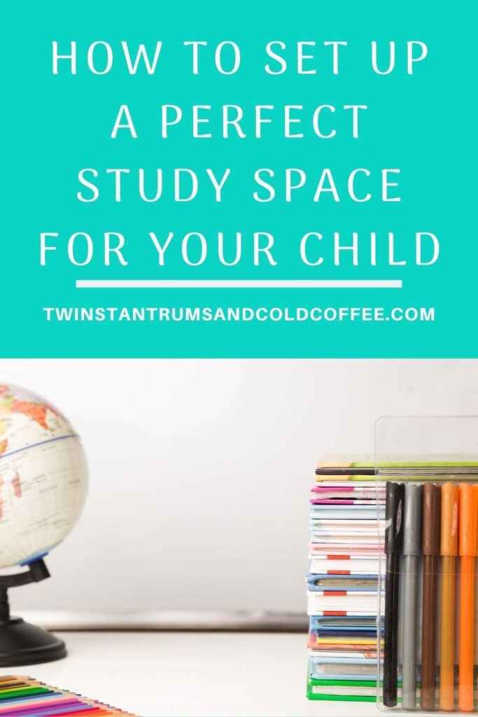 PIN of a globe and set of books for how to set up a perfect study space for a child