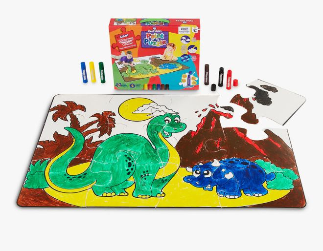 A colourful dinosaur floor painting puzzle from Wicked Uncle is one of a list of brilliant children's presents.