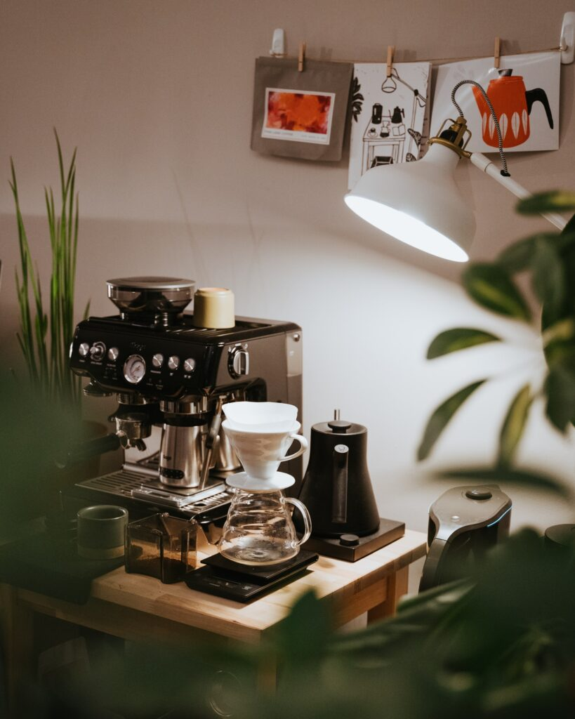 A home coffee machine with some plants