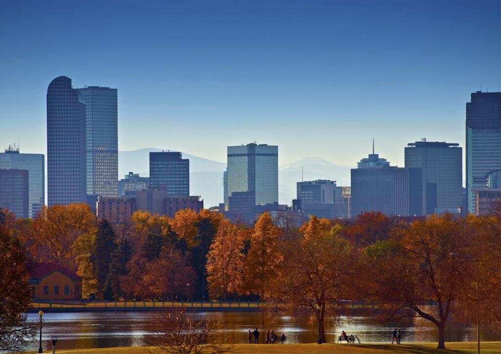 Fall foliage with a Denver city skyline