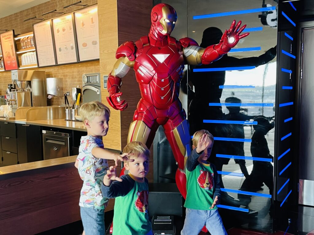 Brothers inside Cineworld on a family day out at Drake Circus