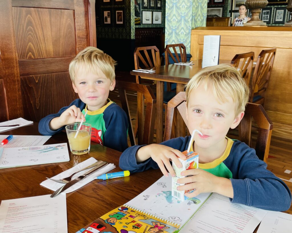 Brothers enjoy a meal at Cosy Club at Drake Circus in Plymouth