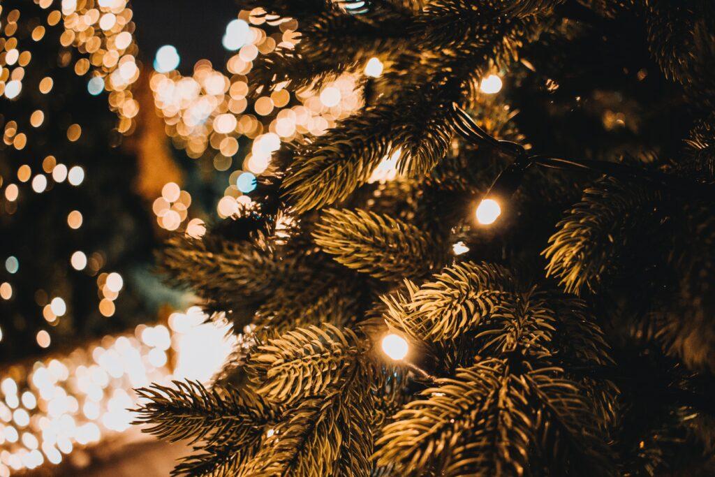 Closeup of light on a Christmas tree
