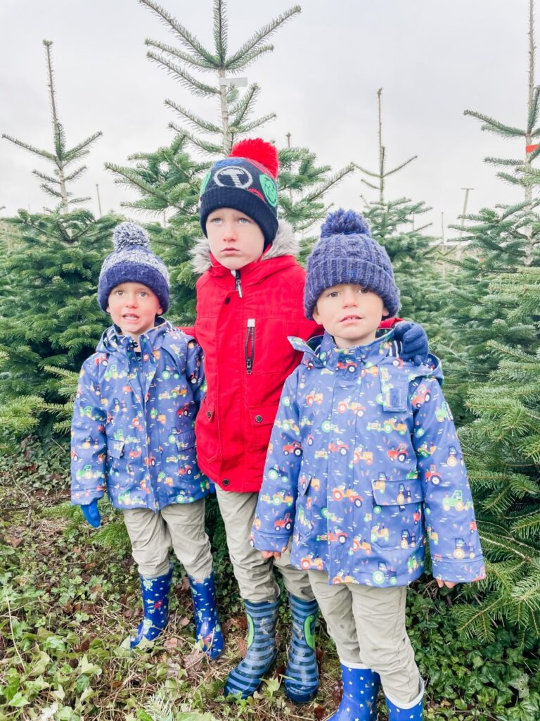 Brothers cold at a Christmas tree farm as an idea of something to do for Christmas in Plymouth 2021