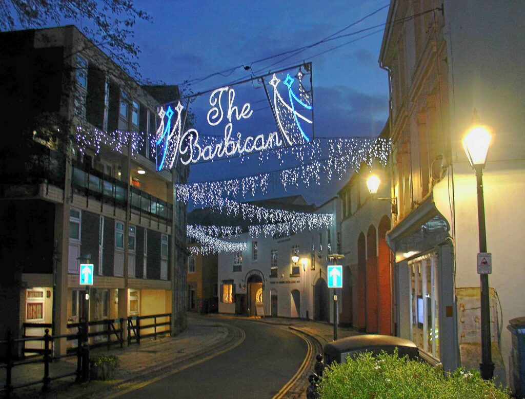 Christmas lights on the Barbican in Plymouth